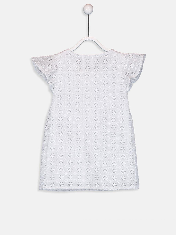 %52 Pamuk %48 Polyester Kız Bebek Kendinden Desenli Poplin Elbise