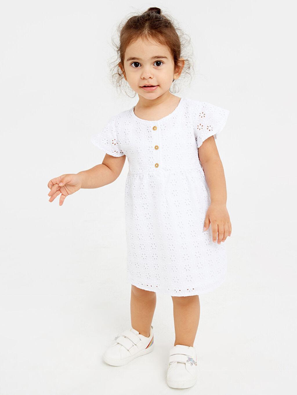 Beyaz Kız Bebek Kendinden Desenli Poplin Elbise 9SY749Z1 LC Waikiki
