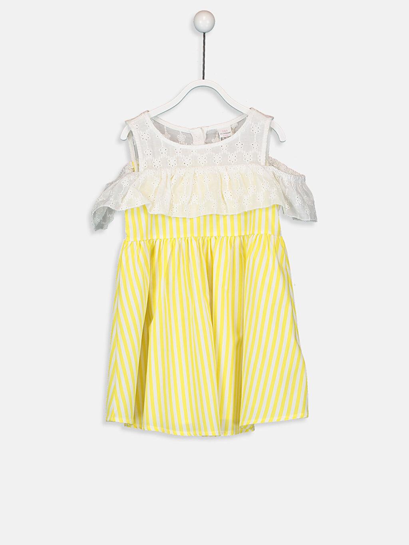 Sarı Kız Bebek Çizgili Poplin Elbise 9SA045Z1 LC Waikiki