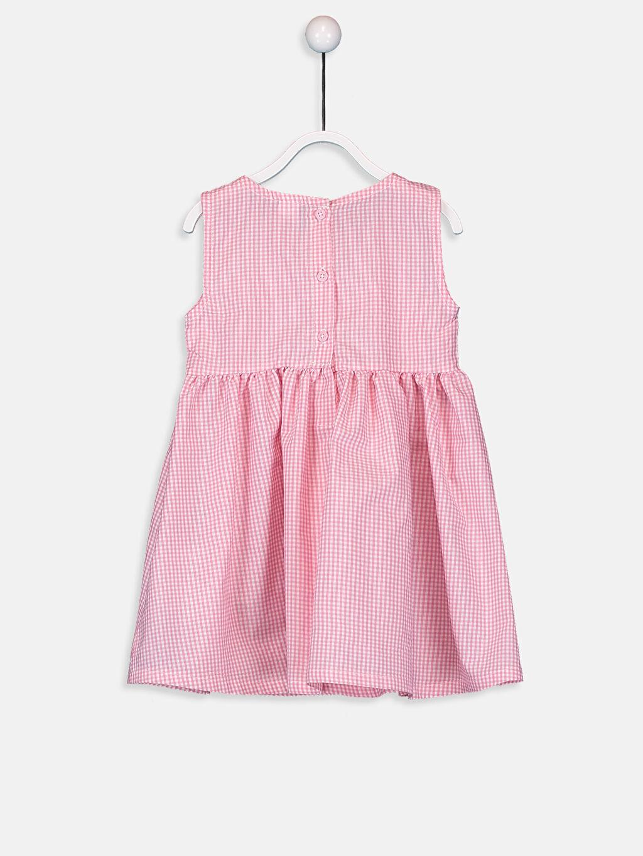%18 Pamuk %82 Polyester Astarsız Poplin Elbise Aksesuarsız Ekose Kolsuz Bebe Yaka Kız Bebek Poplin Elbise