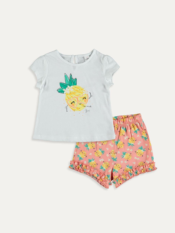 Beyaz Kız Bebek Baskılı Tişört ve Şort 9SA543Z1 LC Waikiki