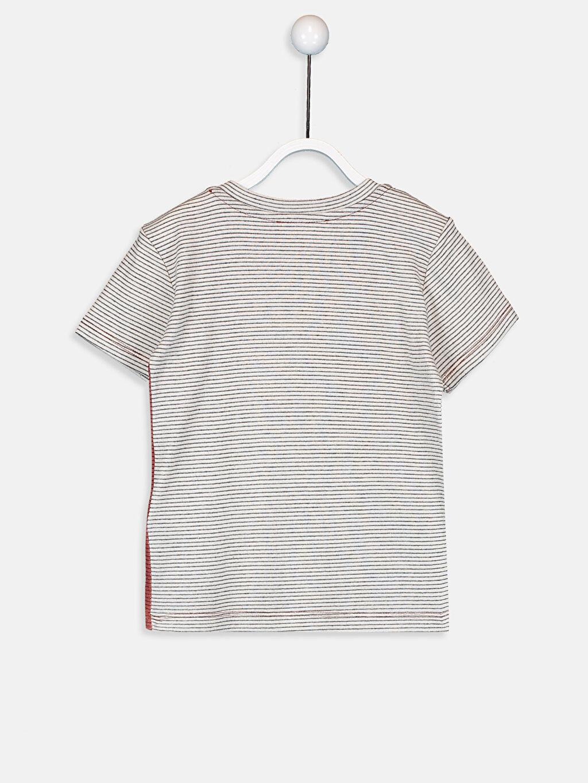 %83 Pamuk %17 Polyester Kısa Kol Ribana Çizgili Standart Tişört Bisiklet Yaka Erkek Bebek Çizgili Pamuklu Tişört