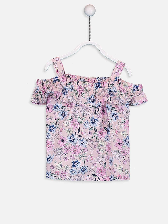 %100 Pamuk %100 Pamuk Standart Baskılı Bluz Açık Omuz Kolsuz Bebe Yaka Poplin Kız Bebek Desenli Poplin Bluz