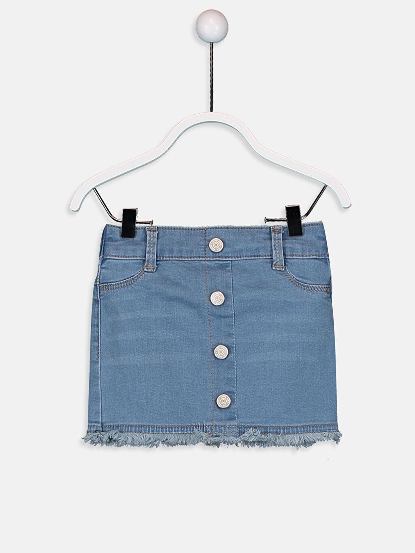 %90 Pamuk %7 Polyester %3 Elastan Standart Normal Bel Jean Etek Düz Aksesuarsız Kız Bebek Jean Etek
