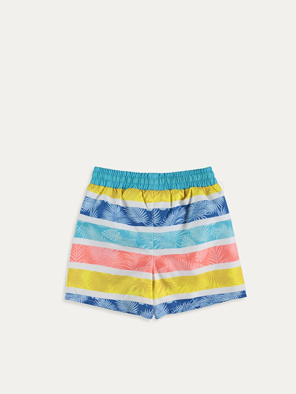 %100 Polyester %100 Polyester Aksesuarsız Boxer Yüzme Şort Çizgili Erkek Bebek Desenli Yüzme Şort