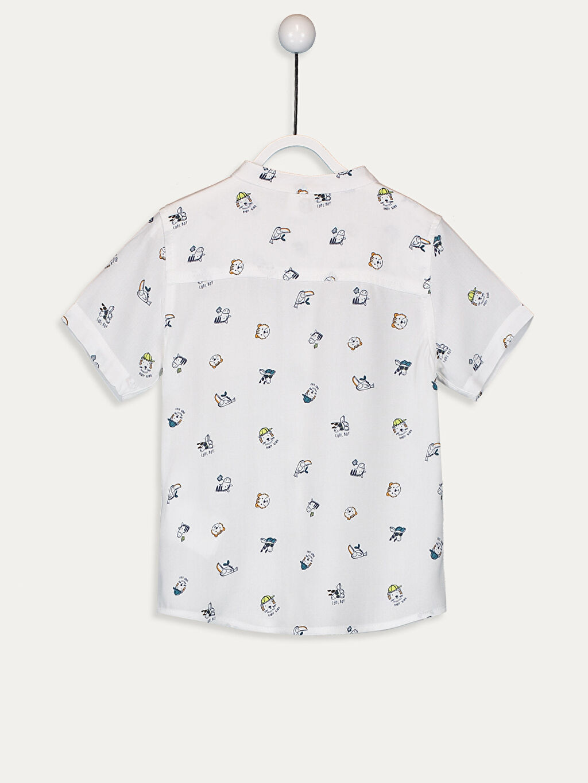 %100 Viskoz Gömlek Standart Baskılı Kısa Kol Oyuncak Hakim Yaka Erkek Bebek Desenli Gömlek