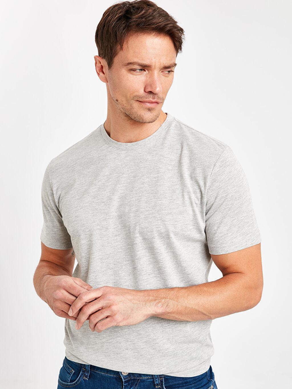 %50 Pamuk %50 Polyester %100 Pamuk Düz Penye Dar Tişört Bisiklet Yaka Kısa Kol Slim Fit Basic Kısa Kollu Tişört