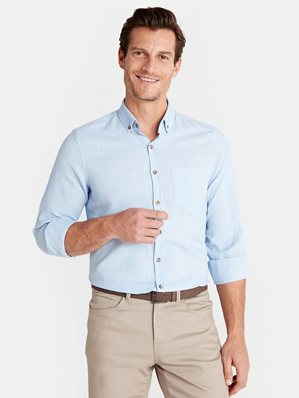 Mavi Slim Fit Uzun Kollu Poplin Gömlek 9W0436Z8 LC Waikiki