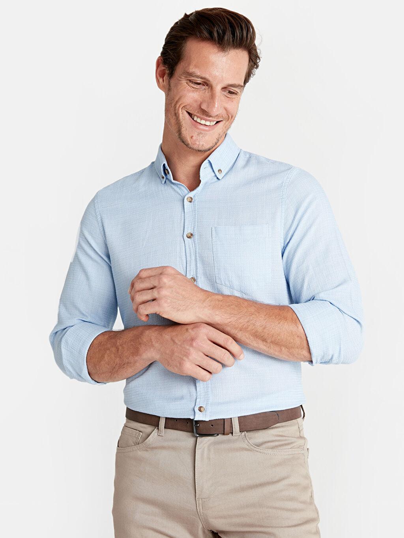 %100 Pamuk %100 Pamuk Düz Düğmeli Gömlek Yaka Gömlek Dar Uzun Kol Slim Fit Uzun Kollu Poplin Gömlek