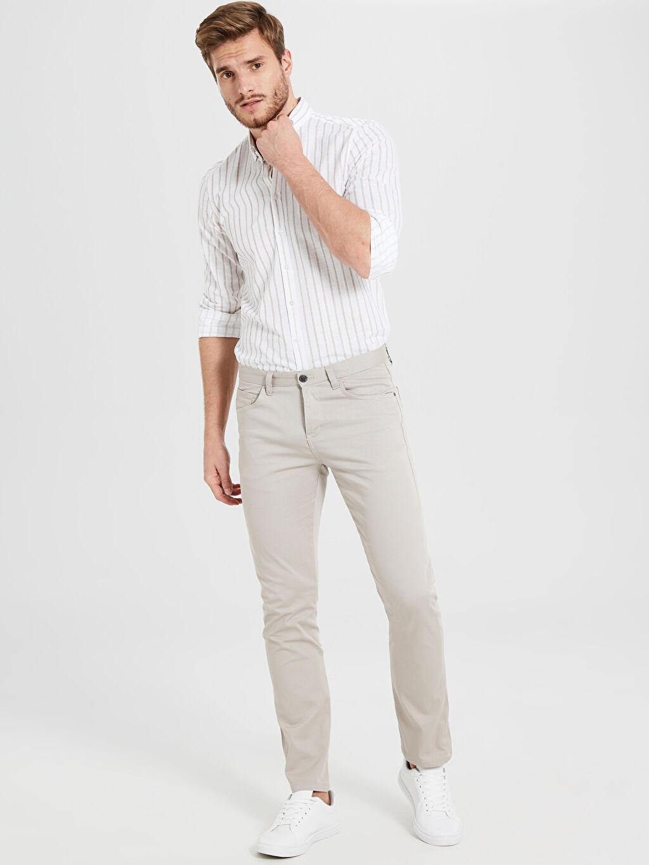 Bej Slim Fit Armürlü Pantolon 9W0630Z8 LC Waikiki