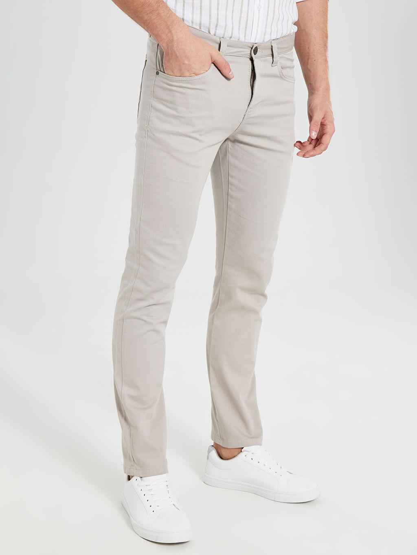 %97 Pamuk %3 Elastan Uzun Dar Beş Cep Pantolon Düz Aksesuarsız Normal Bel Slim Fit Armürlü Pantolon