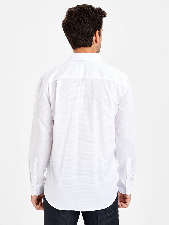 %57 Pamuk %43 Polyester Gömlek Standart Gömlek Yaka Baskılı Uzun Kol Regular Fit Armürlü Uzun Kollu Gömlek