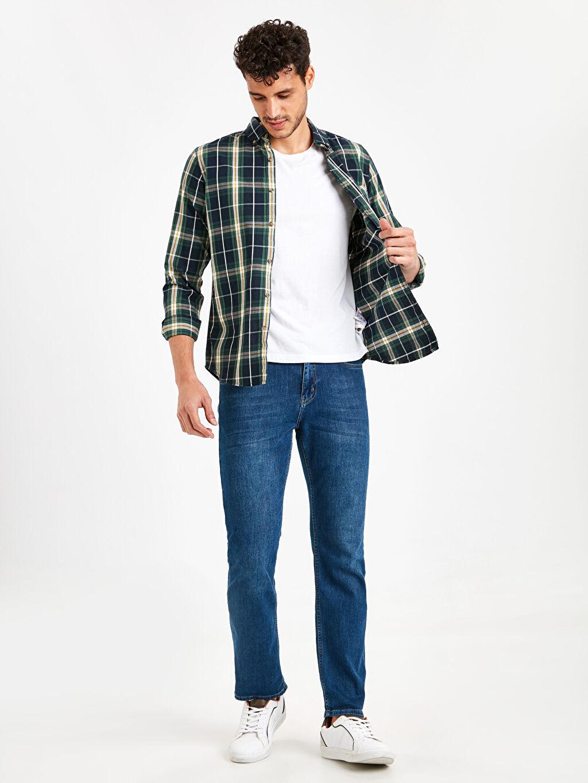 Erkek Ekstra Slim Fit Ekose Uzun Kollu Poplin Gömlek