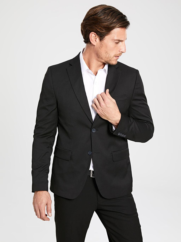 %75 Polyester %3 Elastan %22 Viskon %100 Polyester Düz Blazer Ceket Astarlı Dar Dar Kalıp Takım Elbise Ceketi
