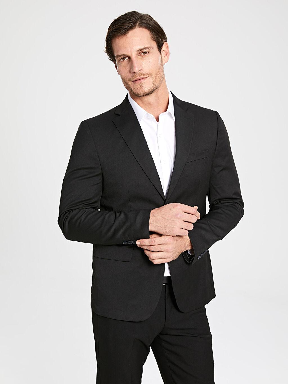 %75 Polyester %3 Elastan %22 Viskon Dar Kalıp Takım Elbise Ceketi