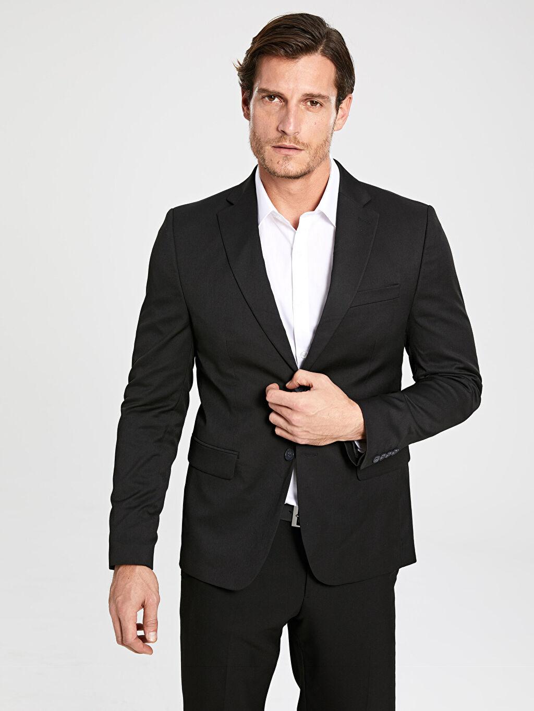 LC Waikiki Siyah Dar Kalıp Takım Elbise Ceketi