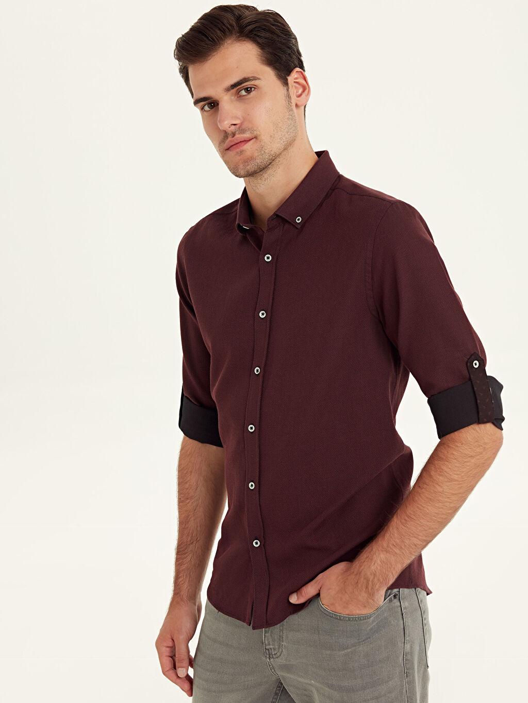 Bordo Slim Fit Armürlü Uzun Kollu Poplin Gömlek 9W2388Z8 LC Waikiki