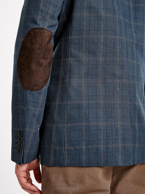%100 Pamuk Standart Kalıp Ekose Blazer Ceket