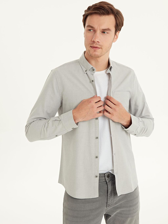 Gri Slim Fit Uzun Kollu Oxford Gömlek 9W3240Z8 LC Waikiki