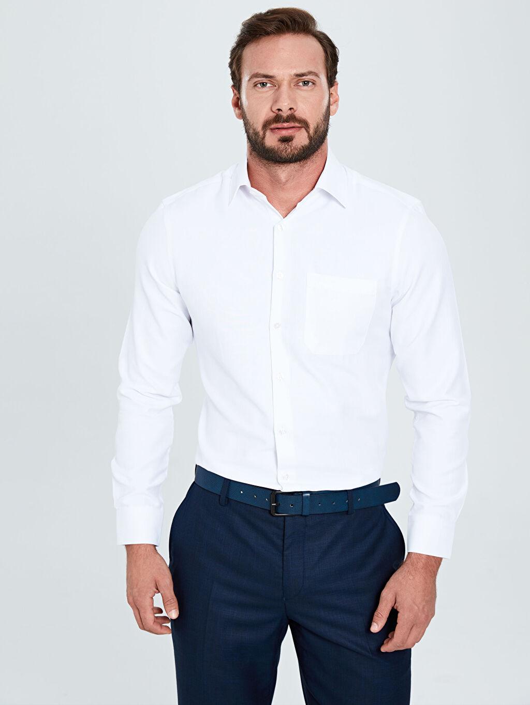 Beyaz Regular Fit Uzun Kollu Gabardin Gömlek 9W3260Z8 LC Waikiki