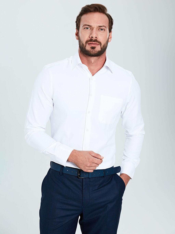 %57 Pamuk %43 Polyester Uzun Kol Düz Gabardin Gömlek Standart Gömlek Yaka Regular Fit Uzun Kollu Gabardin Gömlek