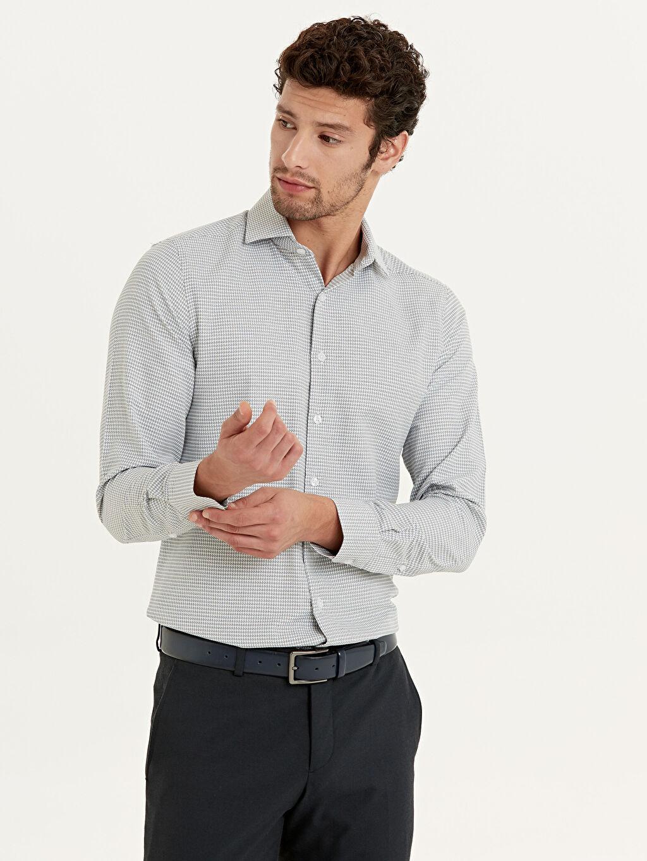 %59 Pamuk %41 Polyester Uzun Kol Gömlek Gömlek Yaka Baskılı Dar Slim Fit Armürlü Uzun Kollu Gömlek