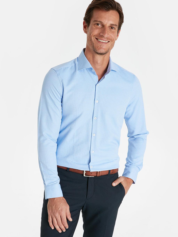 %60 Pamuk %40 Polyester Uzun Kol Gömlek Gömlek Yaka Baskılı Dar Slim Fit Ekose Uzun Kollu Gömlek