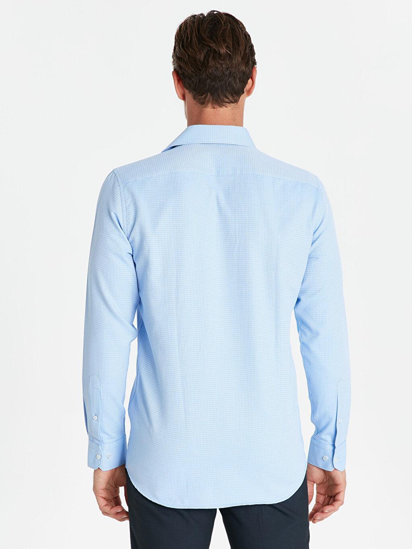 Erkek Slim Fit Ekose Uzun Kollu Gömlek
