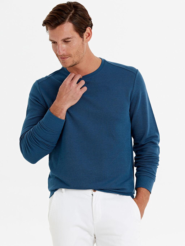 %65 Pamuk %35 Polyester Sweatshirt Rahat Kalıp Pike Bisiklet Yaka Rahat Kalıp Bisiklet Yaka Basic Sweatshirt