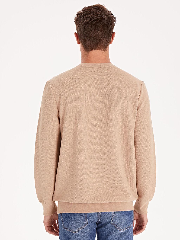 %61 Pamuk %37 Polyester %2 Elastan Rahat Kalıp Bisiklet Yaka Basic Sweatshirt