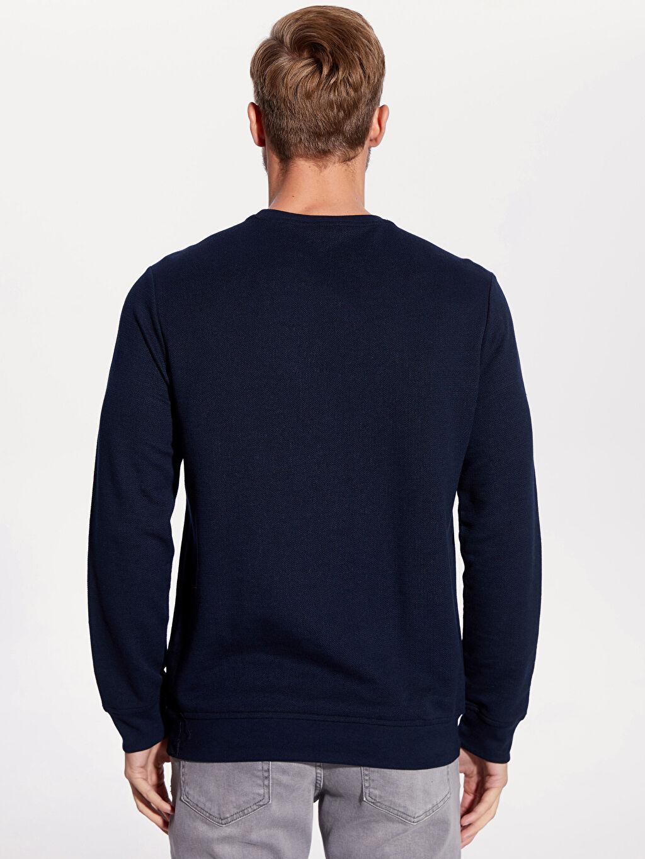 %65 Pamuk %35 Polyester Rahat Kalıp Bisiklet Yaka Basic Sweatshirt