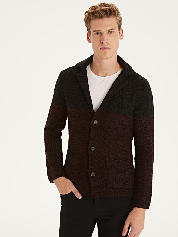 %100 Akrilik Baskılı Blazer Hırka Slim Fit Ceket Yaka Triko Hırka