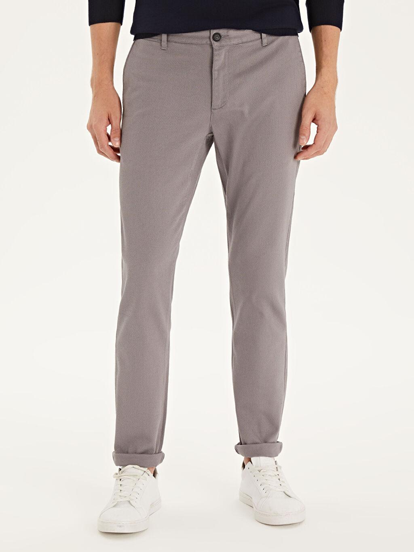 %97 Pamuk %3 Elastan Normal Bel Dar Pantolon Aksesuarsız Düz Slim Fit Armürlü Pantolon