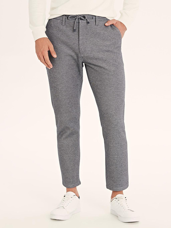 %45 Pamuk %55 Polyester Normal Bel Dar Pantolon Aksesuarsız Düz Slim Fit Bilek Boy Poliviskon Pantolon