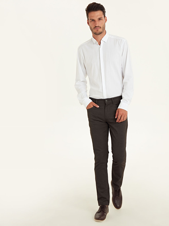 Kahverengi Slim Fit Armürlü Pantolon 9W3593Z8 LC Waikiki