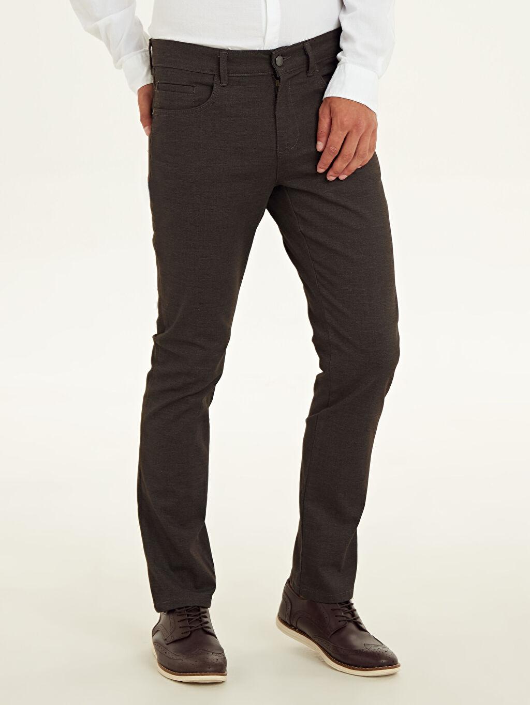 %71 Pamuk %26 Polyester %3 Elastan Normal Bel Uzun Dar Beş Cep Pantolon Aksesuarsız Düz Slim Fit Armürlü Pantolon