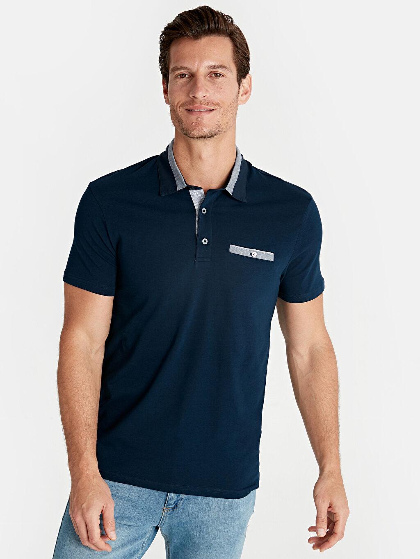 %96 Pamuk %4 Elastan Standart Tişört Polo Yaka Kısa Kol Düz Penye Polo Yaka Kısa Kollu Pamuklu Tişört