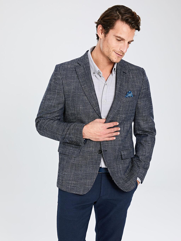 %61 Poliester %9 Yün %7 Akrilik %23 Viskoz %100 Polyester Blazer Ceket Astarlı Baskılı Dar Dar Kalıp Blazer Ceket