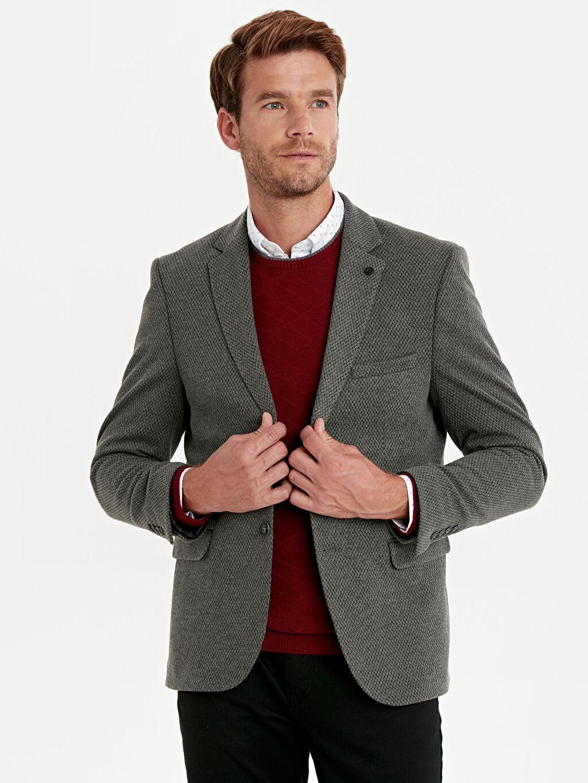 %15 Pamuk %84 Poliester %1 Elastan %100 Polyester Blazer Ceket Astarlı Baskılı Dar Dar Kalıp Dokulu Blazer Ceket