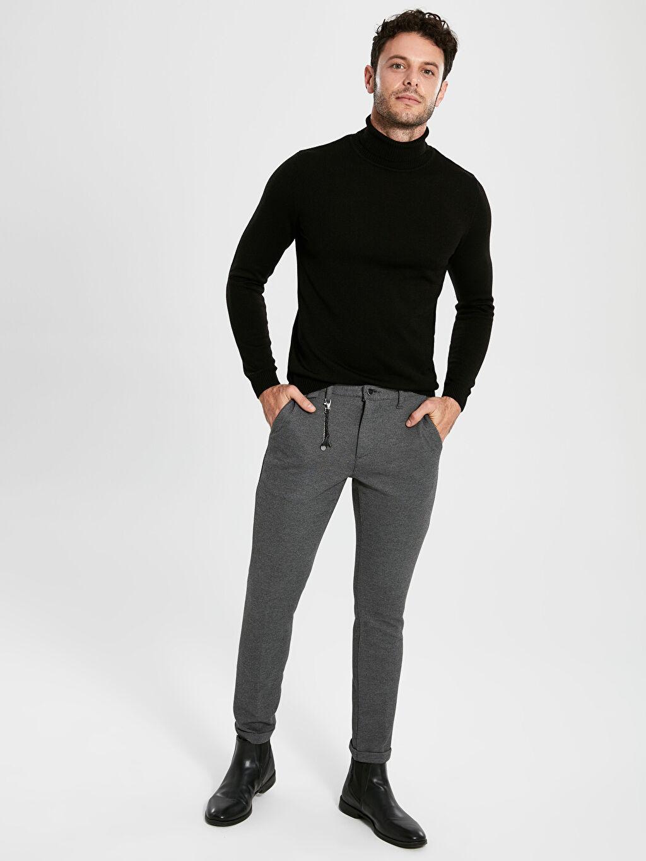 %18 Pamuk %80 Polyester %2 Elastan Pantolon Düz Zincir Normal Bel Dar Slim Fit Bilek Boy Pantolon