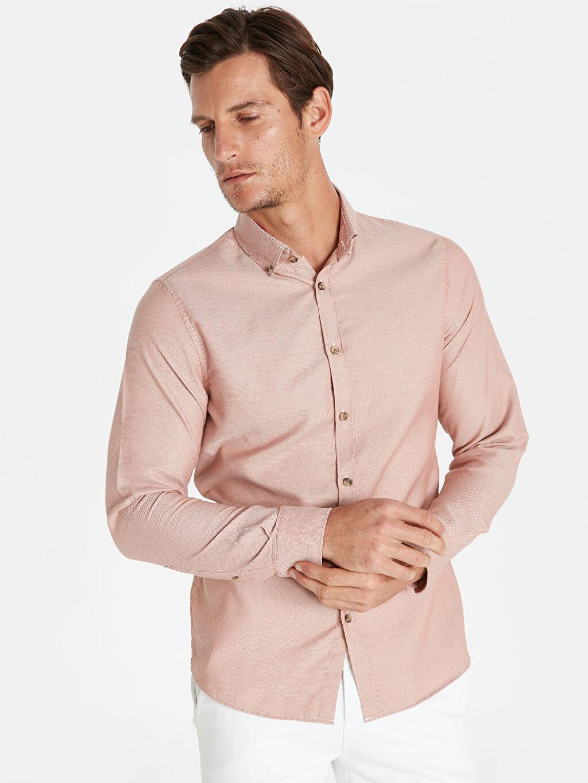 %66 Pamuk %34 Poliester Uzun Kol Düz Düğmeli Gömlek Yaka Gömlek Dar Patlı Slim Fit Armürlü Uzun Kollu Gömlek