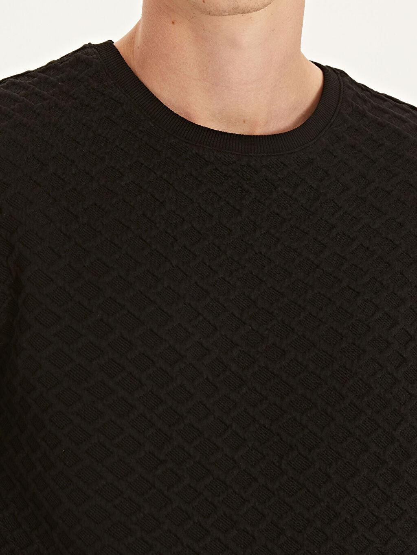 %82 Polyester %16 Viskoz %2 Elastan Slim Fit Kapitone Desenli Sweatshirt