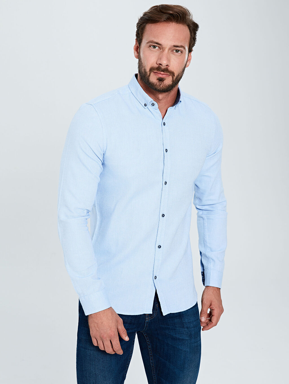 Mavi Slim Fit Uzun Kollu Armürlü Gömlek 9W8204Z8 LC Waikiki