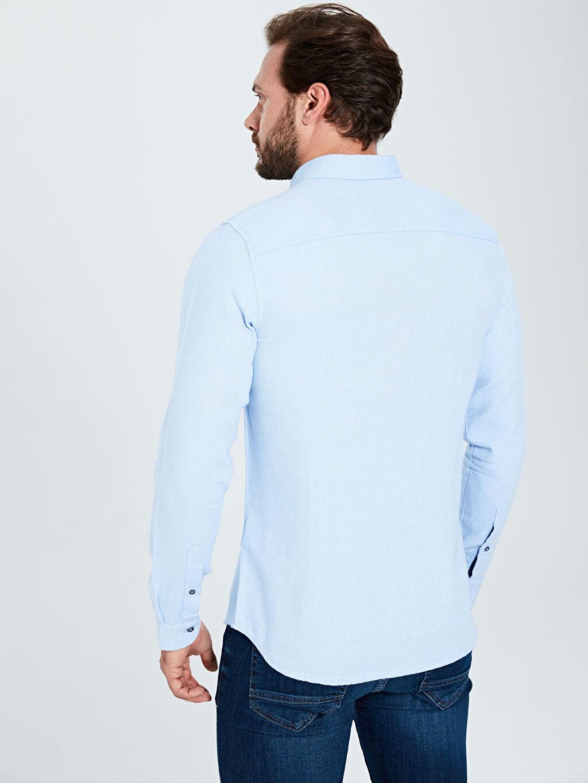 LC Waikiki Mavi Slim Fit Uzun Kollu Armürlü Gömlek