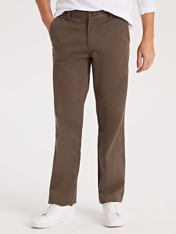 %33 Pamuk %67 Polyester Gabardin Standart Chino Pantolon Normal Kalıp Chino Pantolon
