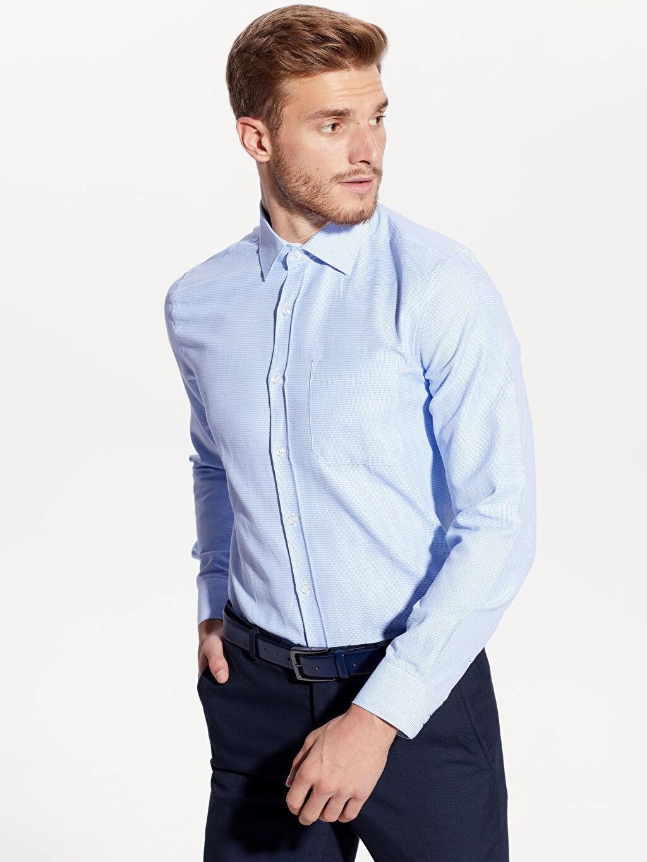 Mavi Regular Fit Armürlü Uzun Kollu Gömlek 9W9618Z8 LC Waikiki