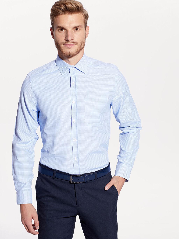 %60 Pamuk %40 Polyester Uzun Kol Gömlek Standart Gömlek Yaka Baskılı Regular Fit Armürlü Uzun Kollu Gömlek
