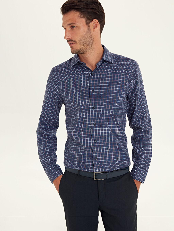 %58 Pamuk %42 Polyester Uzun Kol Gabardin Gömlek Ekose Standart Gömlek Yaka Regular Fit Ekose Uzun Kollu Gabardin Gömlek