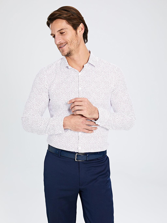 %50 Pamuk %46 Poliester %4 Elastane Uzun Kol Ekstra Dar Poplin Gömlek Gömlek Yaka Baskılı Ekstra Slim Fit Desenli Uzun Kollu Gömlek