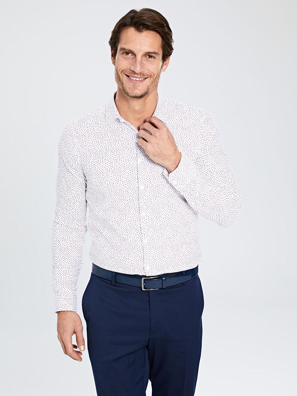 Erkek Ekstra Slim Fit Desenli Uzun Kollu Gömlek